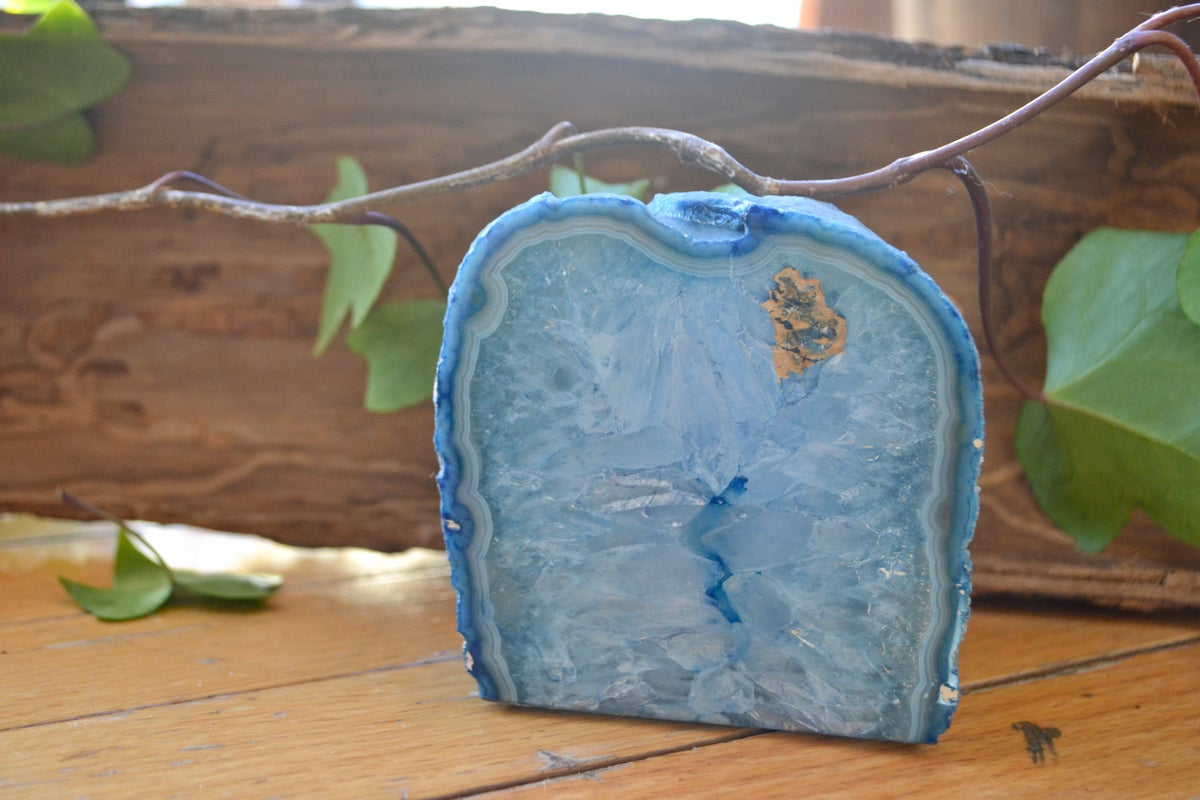 Image of Blue agate tea light holder