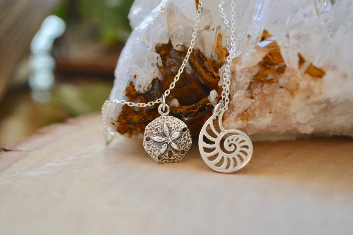 Image of Sand dollar and ammonite necklace