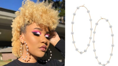 Image of Large Gold/Pearl Hoop Earrings