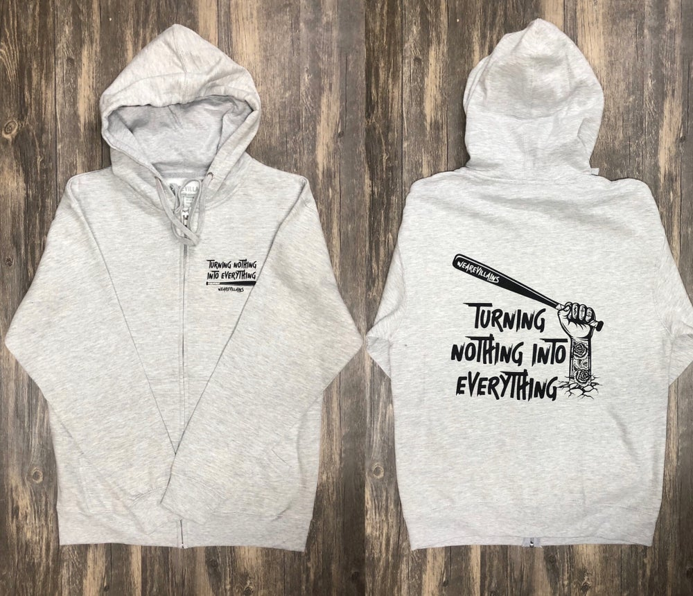Image of NOTHING INTO EVERYTHING zip up hoodie