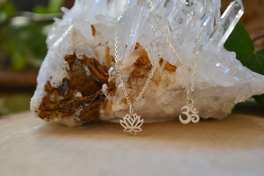 Image of Petite lotus and ohm necklace