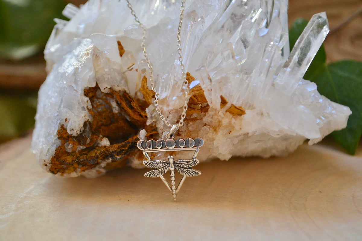 Image of Dragonfly with moon phases necklace