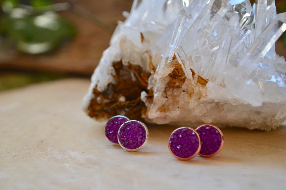 Image of Purple druzy earrings