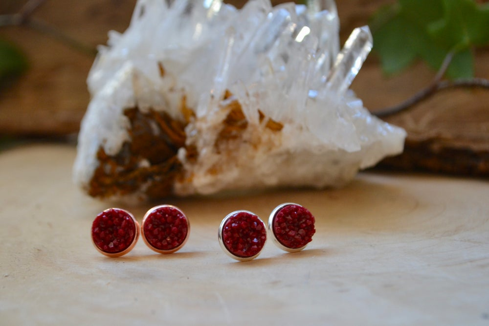 Image of Red druzy earrings