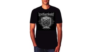 Image of LEATHERWOLF - Band Logo w/ Silver & Black Crest (one-sided)