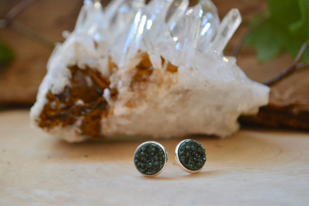 Image of Dark green druzy earrings