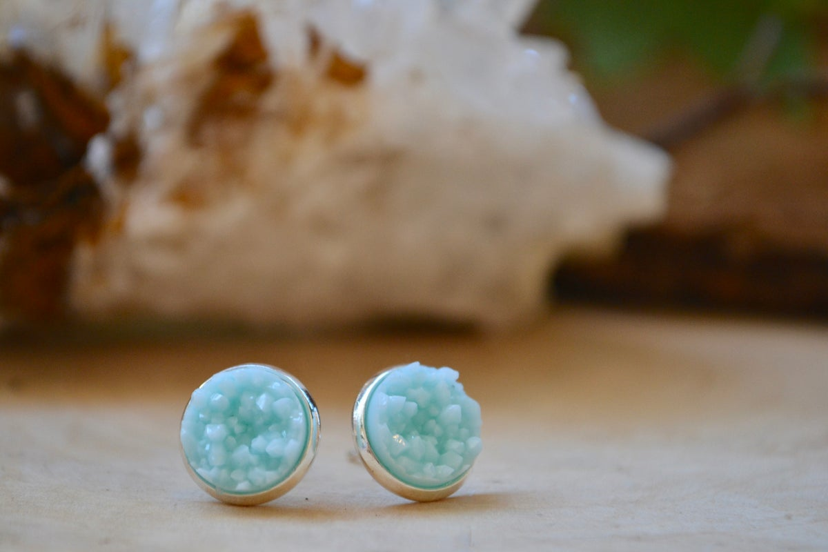 Image of Light blue druzy earrings