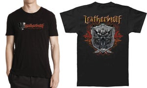 Image of  LEATHERWOLF - Band Logo w/ Triple Axe Attack (front) / Color Crest (back)