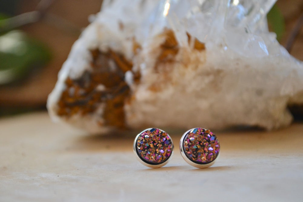 Image of Magenta druzy earrings