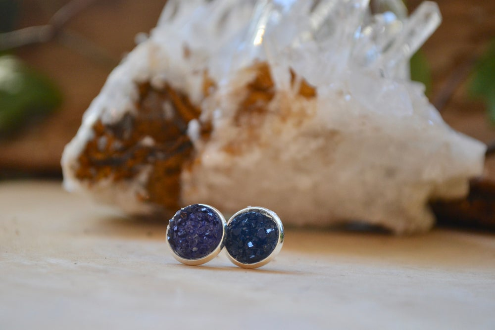 Image of Dark blue druzy earrings