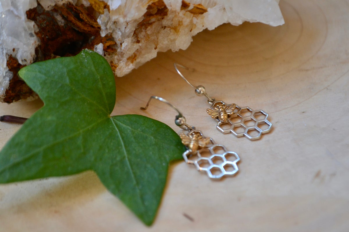 Image of Bee and honey comb earrings