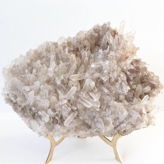 Image of Extra Large Quartz Crystal Plate + Brass Easel Stand