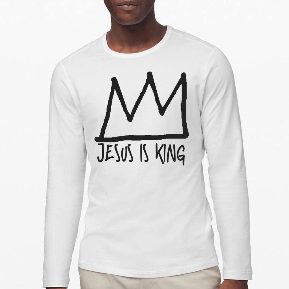 Image of Jesus Is King Long Sleeve T-Shirt (White T/Black Logo)