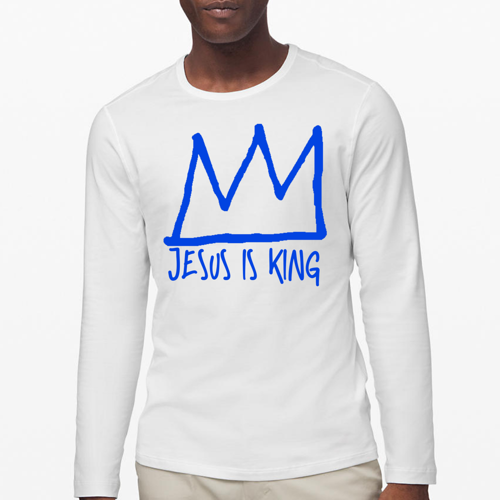 Image of Jesus Is King Long Sleeve T-Shirt (White T/Blue Logo)