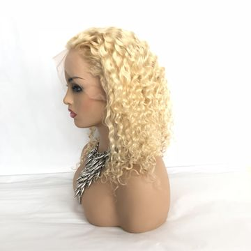 Image of Russian Blonde Deep Wave - Transparent Lace Front Wig