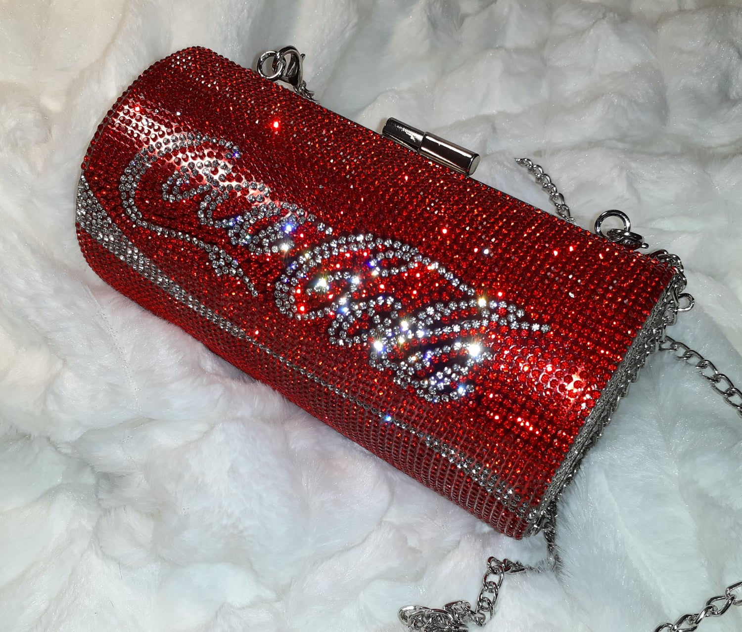 "Image of ""I love Coca cola"" can clutch"