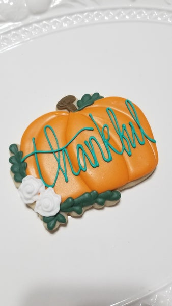 Image of Large Personalized Floral Pumpkin