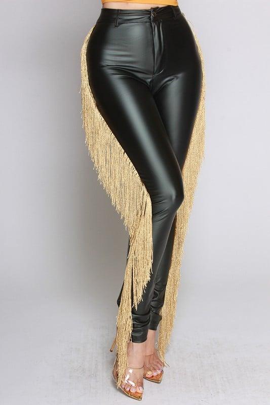Image of Faux Leather Fringe Pants