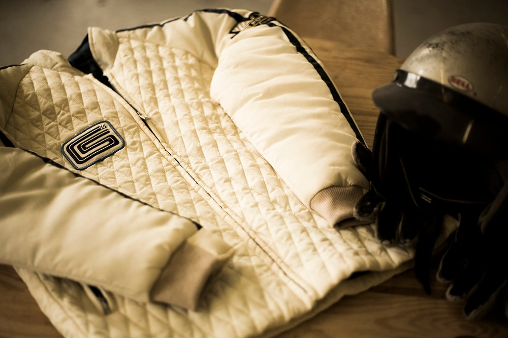 Image of PRE-ORDER NOW!  OVC - Ford v. Ferrari Carroll Shelby Crew Jacket - White with Blue Stripes