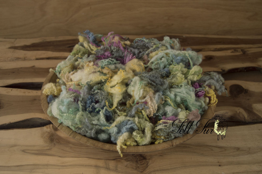 Image of Rainbow Basket Filler, Colour Mix Fluffy Curls, Baby Wool Prop (489), Newborn Photo Prop. RTS