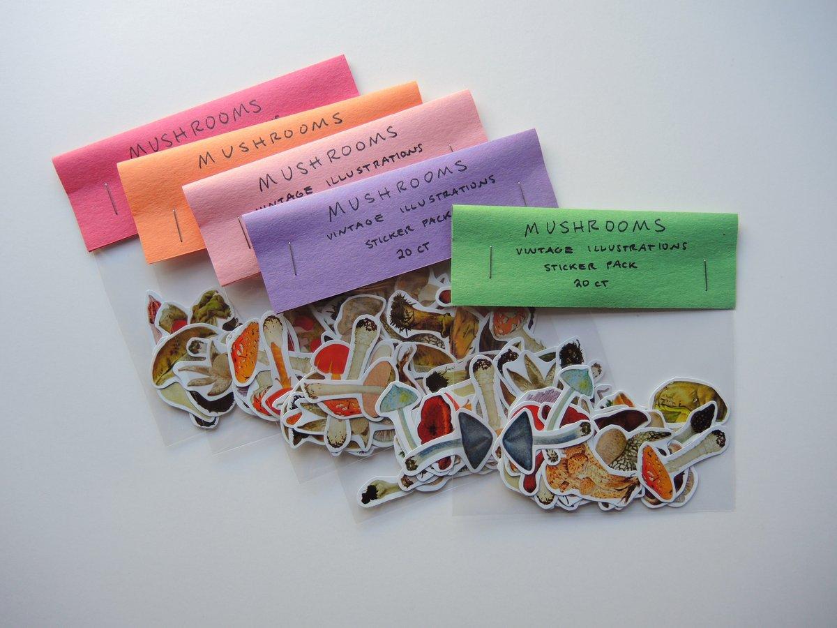 Image of Mushroom Sticker Pack (20 Vintage Illustrations)