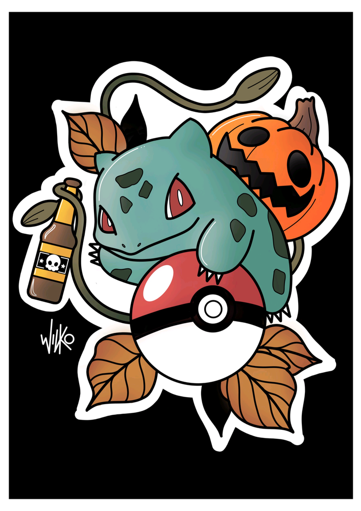 Image of 'Halloween Bulbasaur' Print