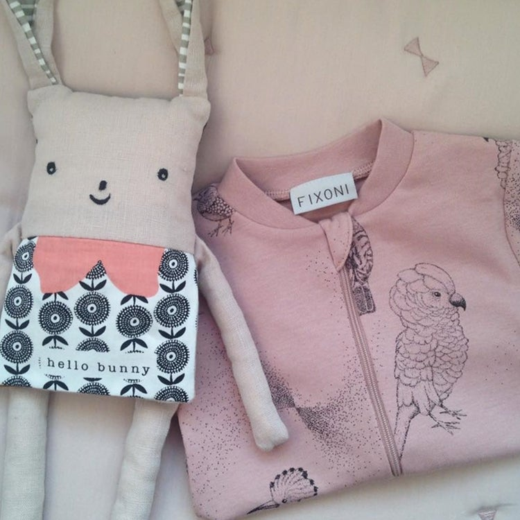 Image of Dusky Pink Organic Baby Quilt Gift Set