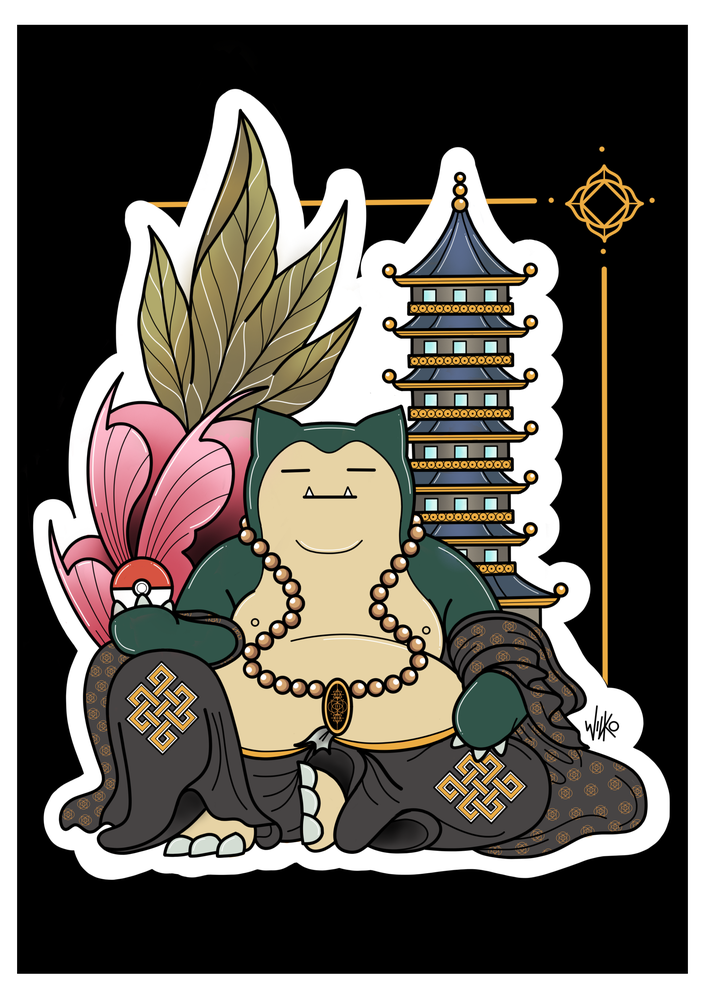 Image of 'Buddha Snorlax' Print