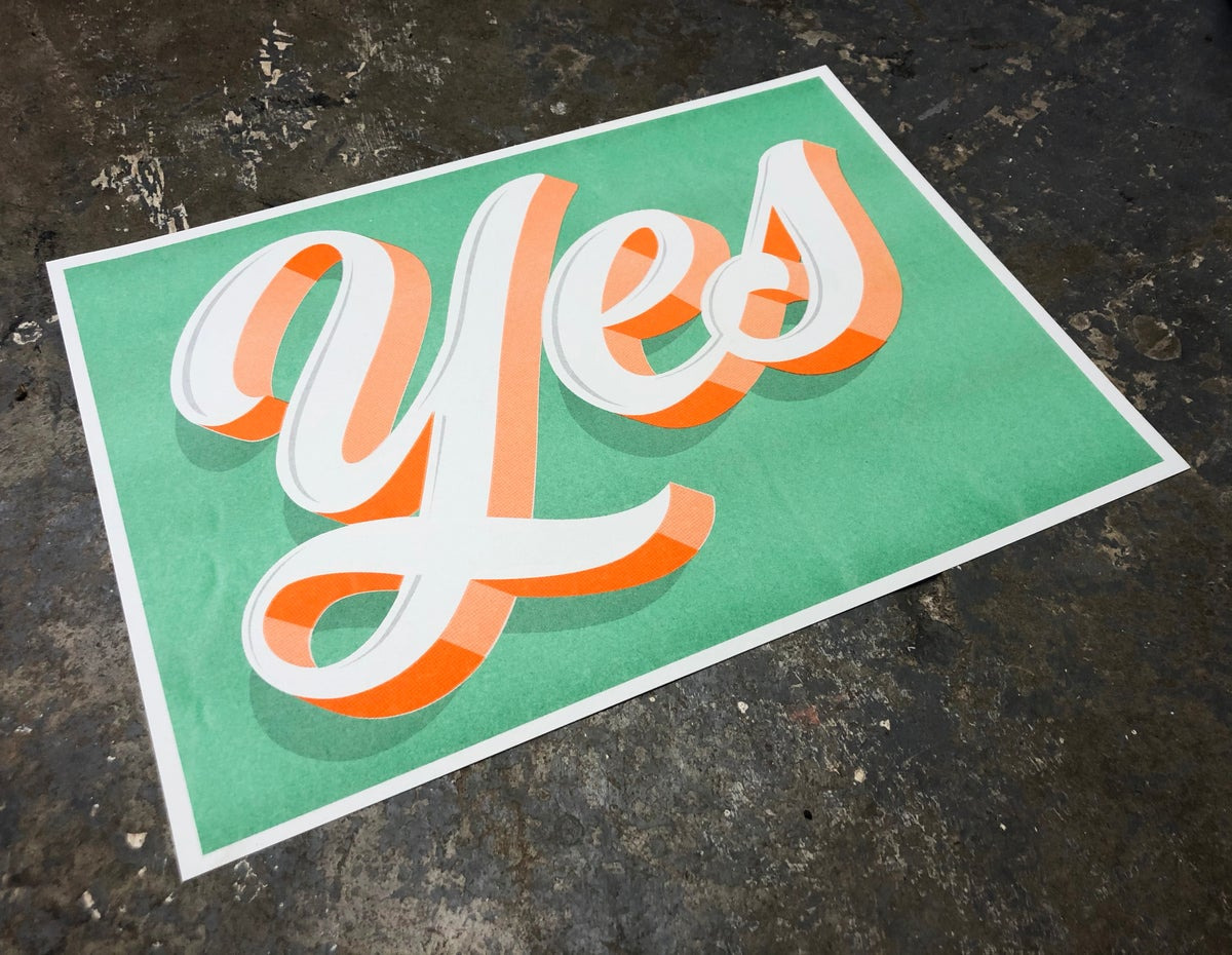 Image of 'Yes' A3 Risograph Print