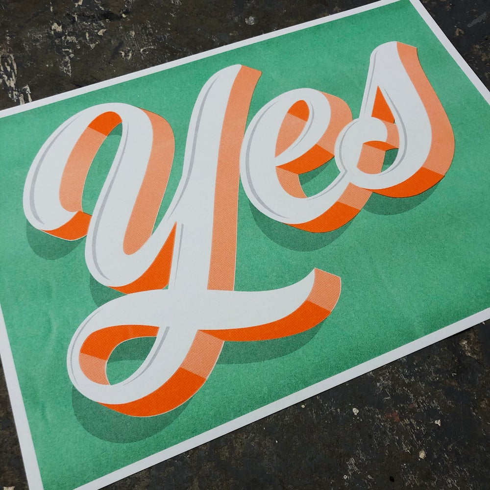Image of 'Yes' A3 Riso Print