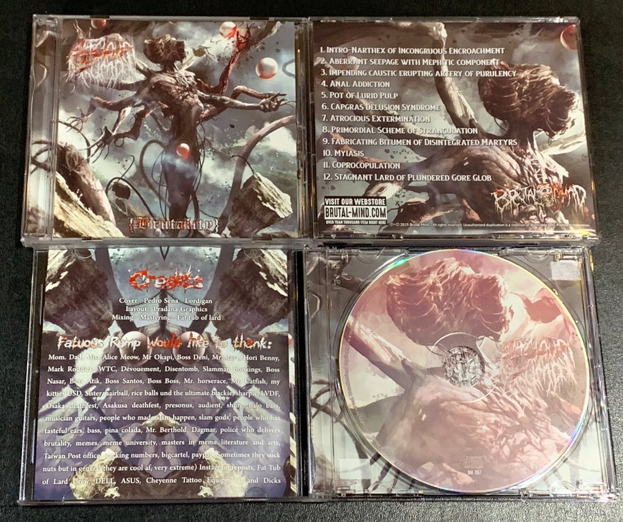 "Image of Official Fatuous Rump ""{Brutality} "" 3rd Full Length Album CD released by Brutal Mind Records!"