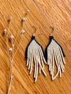 Ivory and Montana Blue Fringe Earrings