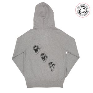 Image of 3 Skull Back Print Melange Grey Zip-Up Hood (Organic)