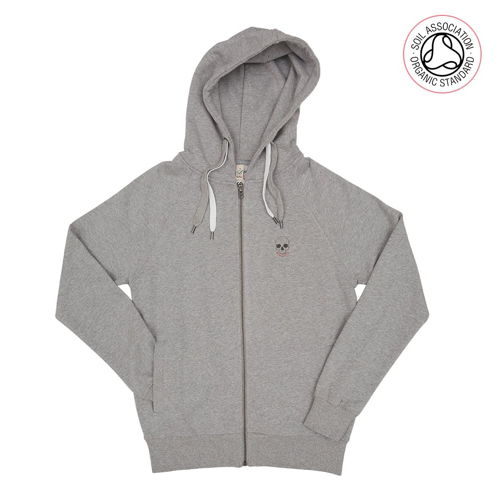3 Skull Back Print Melange Grey Zip-Up Hood (Organic)
