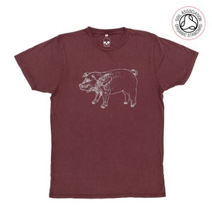Image of X-Ray 'Higgy-Pig' Stone Wash Burgundy T-Shirt (Organic)