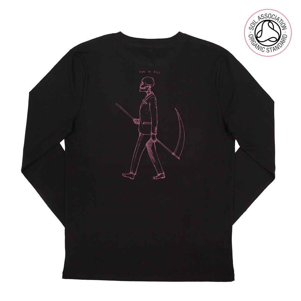 Image of Mr Death Black Back Print Long Sleeve (Organic)