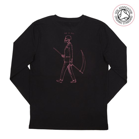 Image of Mr Death Black Back Print Long Sleeve (Organic)