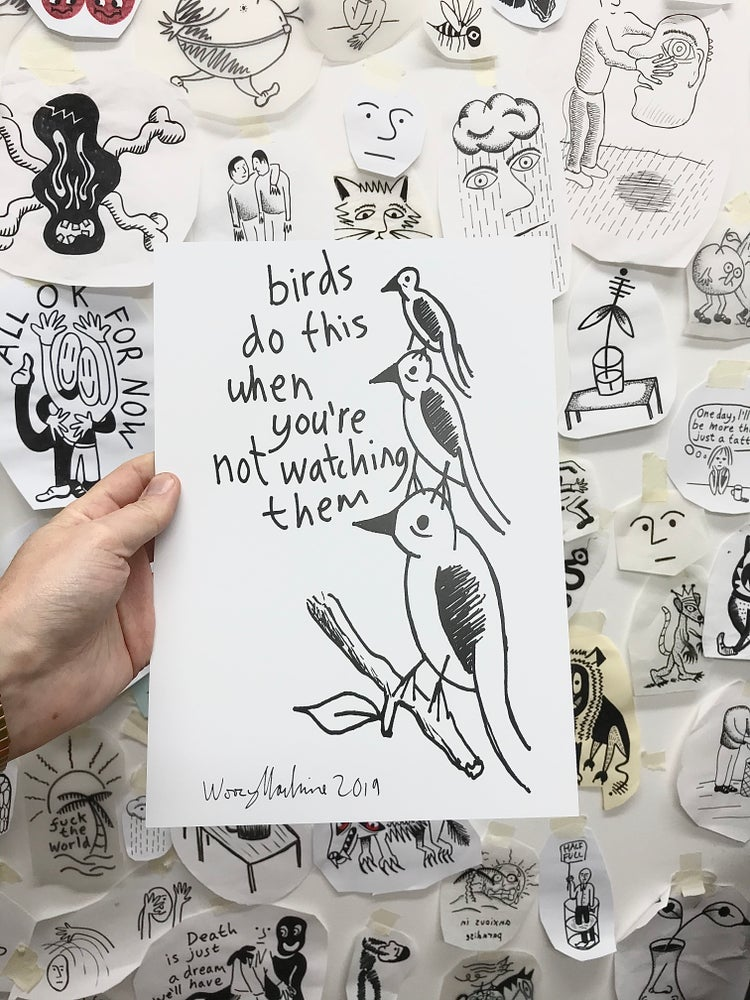 Image of BIRDS DO THIS - SIGNED A4 PRINT