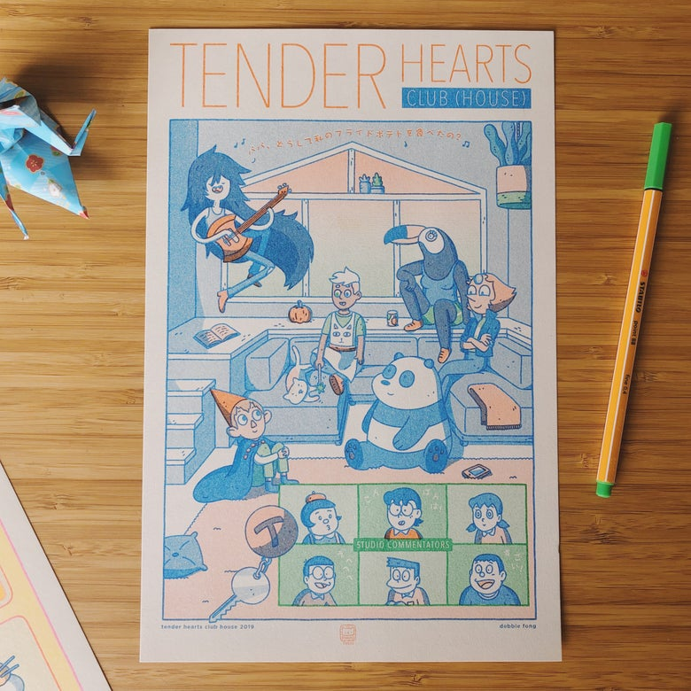 Image of TENDER HEARTS CLUB HOUSE RISO PRINT