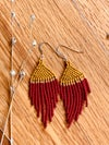 Mustard, Red and Gold Fringe Earrings