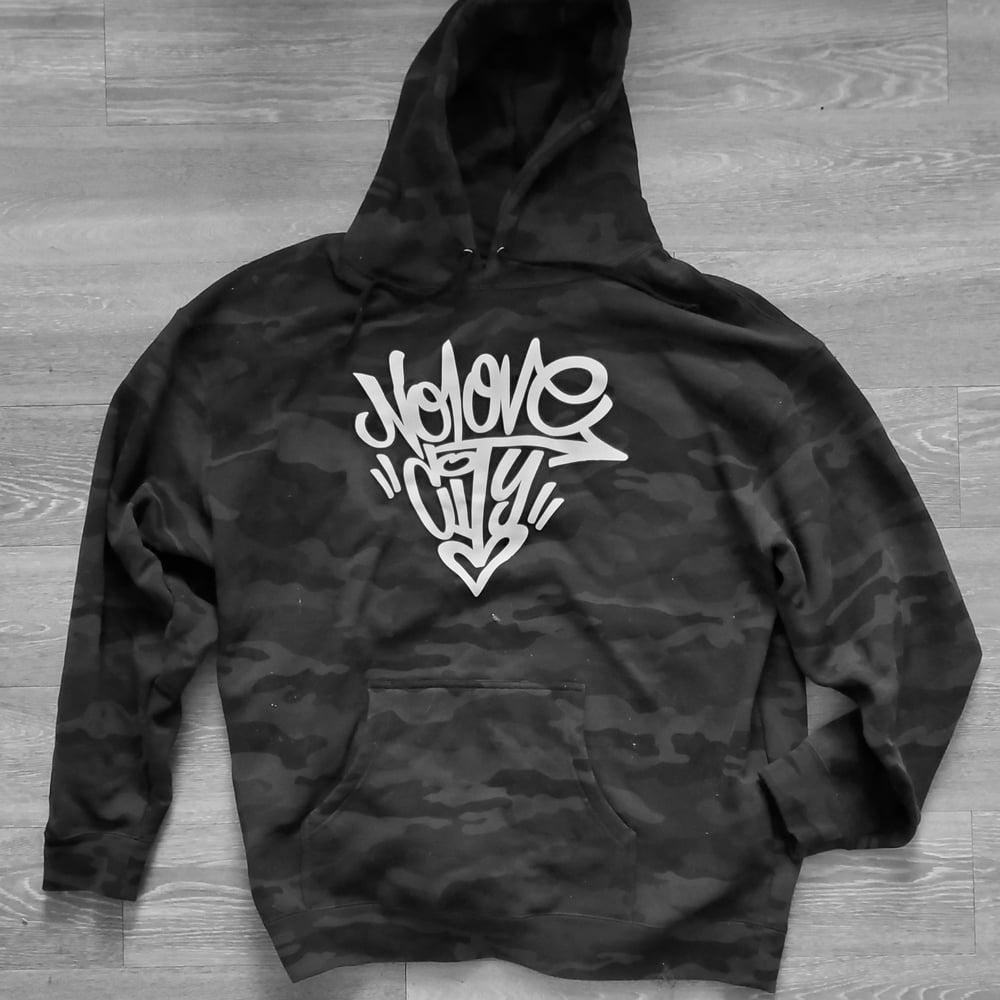 Image of *PRE ORDER* Black Graffiti Logo Camo Hoodie