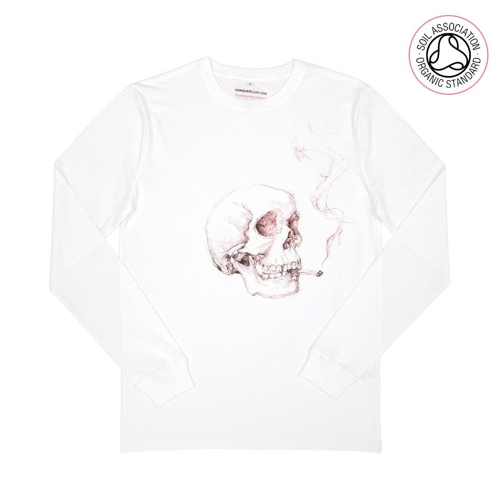 Smoking Skull White Heavyweight Long Sleeve Shirt (Organic)