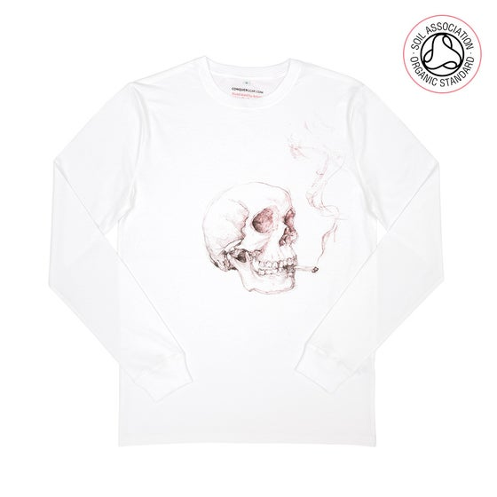 Image of Smoking Skull White Heavyweight Long Sleeve Shirt (Organic)