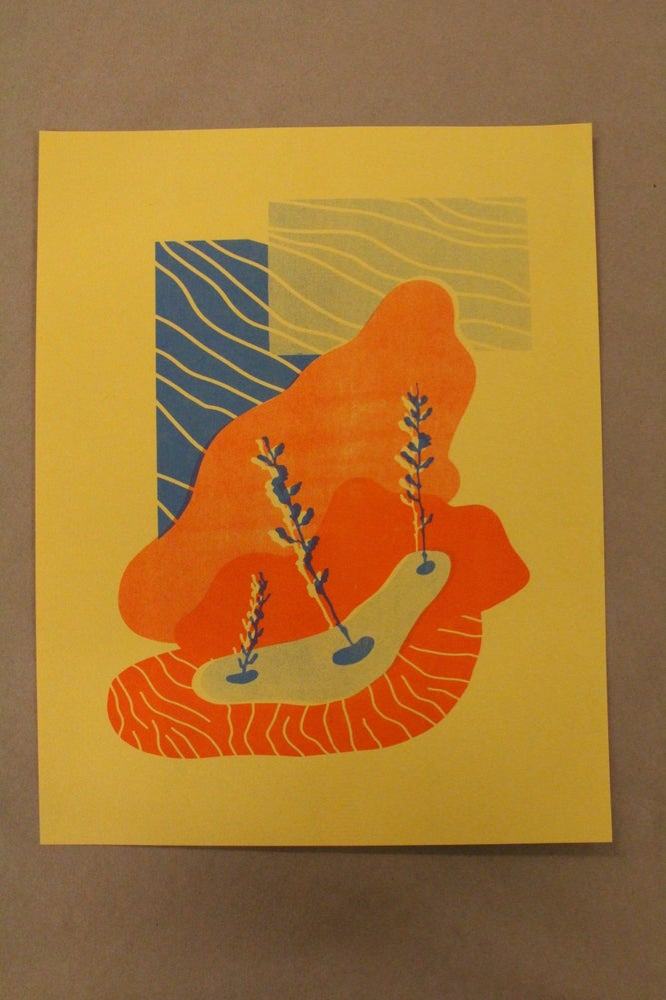 "Image of Libby Landauer ""Tangerine Collage"" Risograph Print"