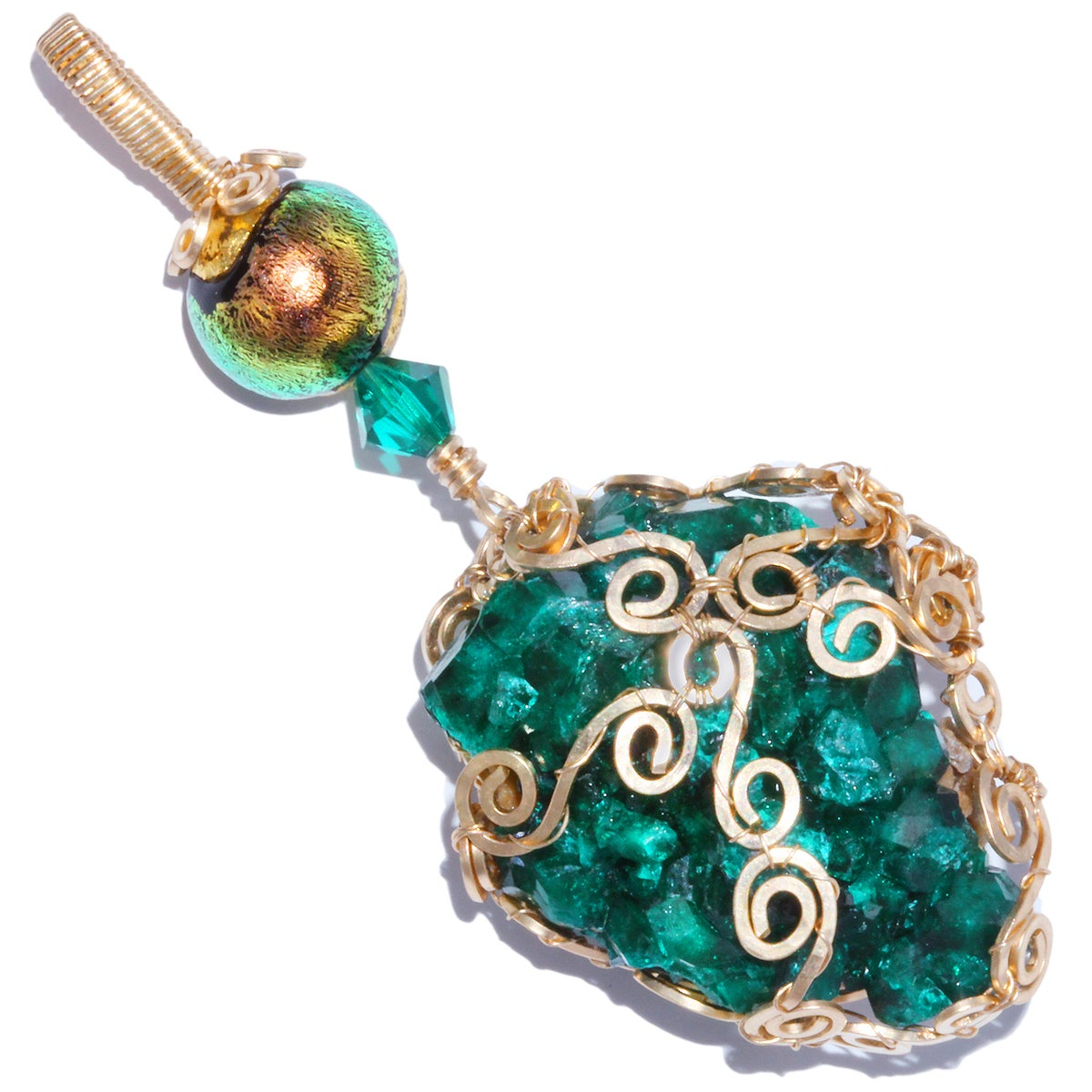 Dioptase Gold Filled Filigree Pendant