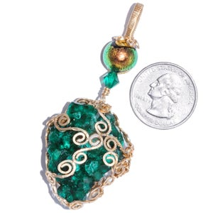 Image of Dioptase Gold Filled Filigree Pendant