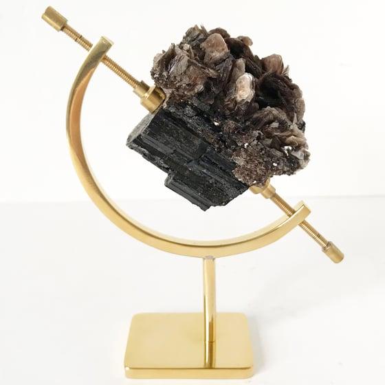 Image of Black Tourmaline/Mica no.42 + Brass Arc Stand