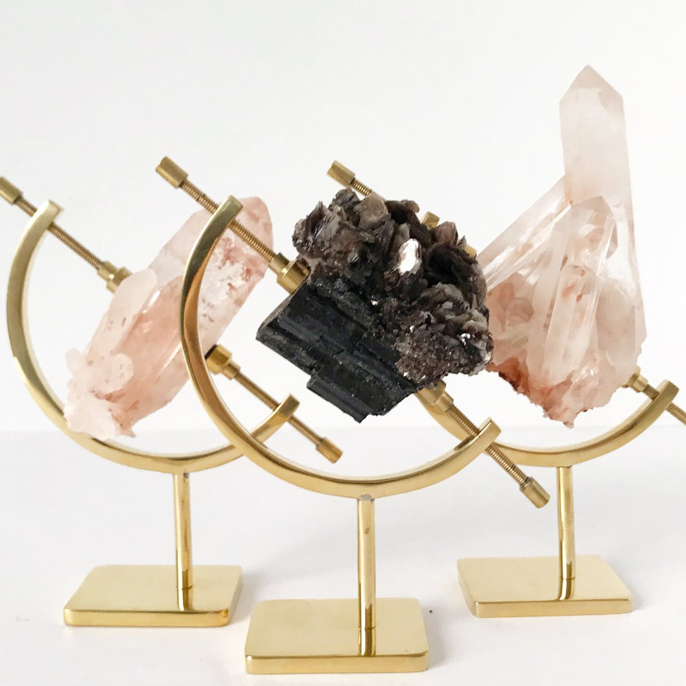 Image of Black Tourmaline/Mica no.42 + Brass Arc Stand