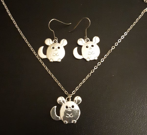 Image of Adorable Chinchilla Necklace, Earrings or the set!