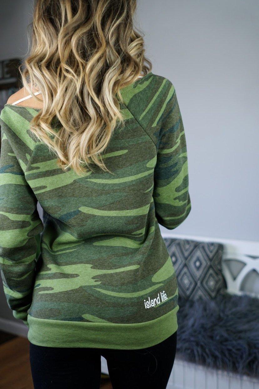 "Image of ""Local Love"" Slim Fit Off The Shoulder Ladies' Sweatshirt - Camo"